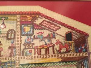cuadro casa punto de cruz