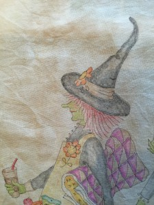 pintura tela quilt witches