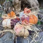 Decoración de otoño calabazas de patchwork