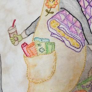 detalles bordados pintura tela