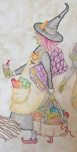 bruja bordada quilt salem witches