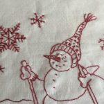 Bordado en redwork Winter Wonderland