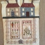 Bloque huerto bordado y casas paper piecing