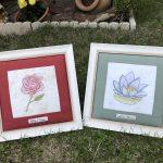 Colección de flores bordadas a mano y pintadas