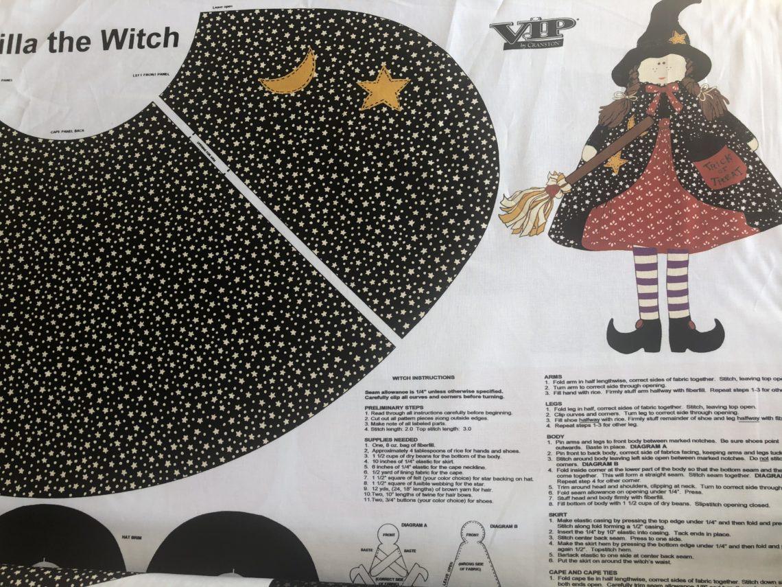 Panel tela muñeco bruja
